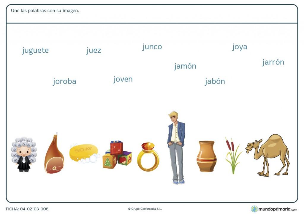 Ficha de unir las palabras con su imagen para primaria