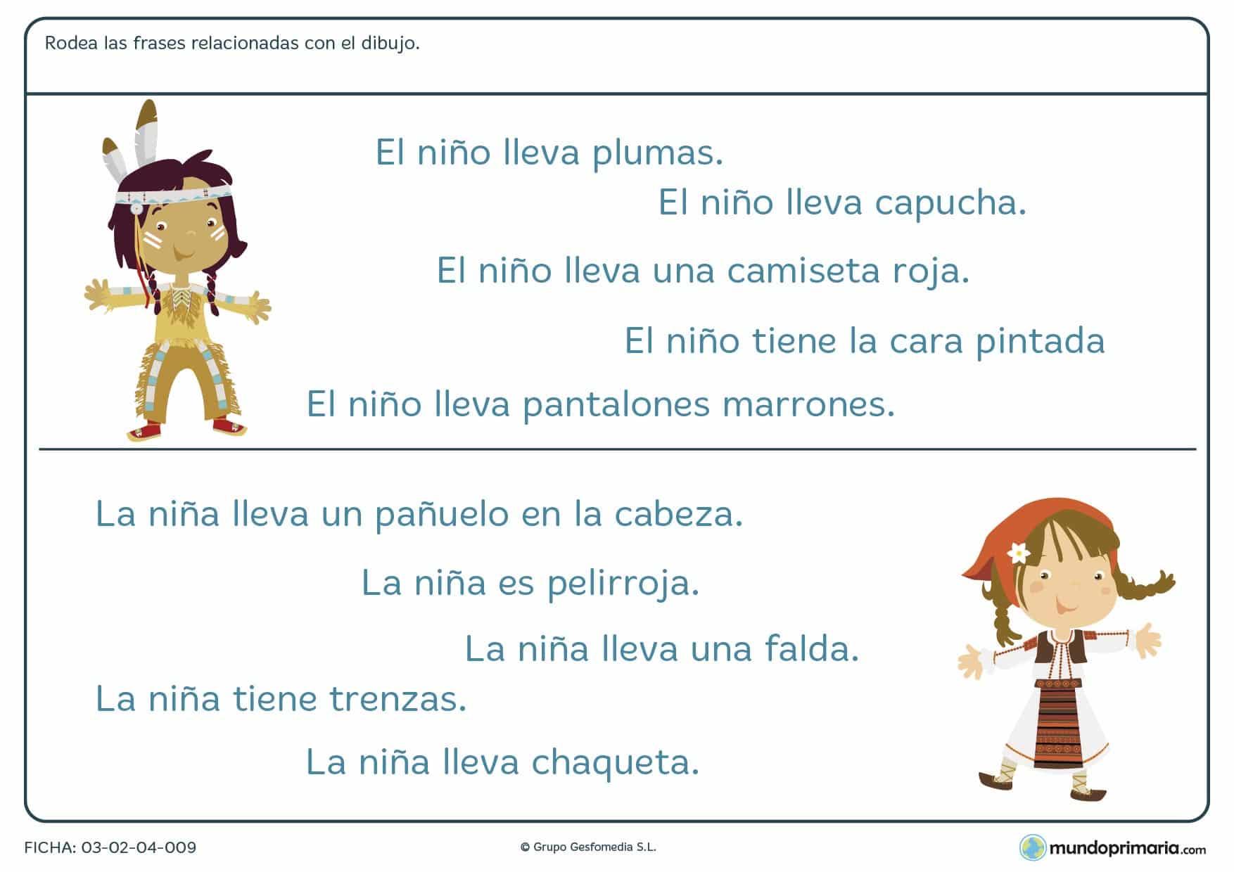 Ficha de unir palabras con imágenes para niños de primaria en la que debes identificar qué frase explica mejor el dibujo dado.