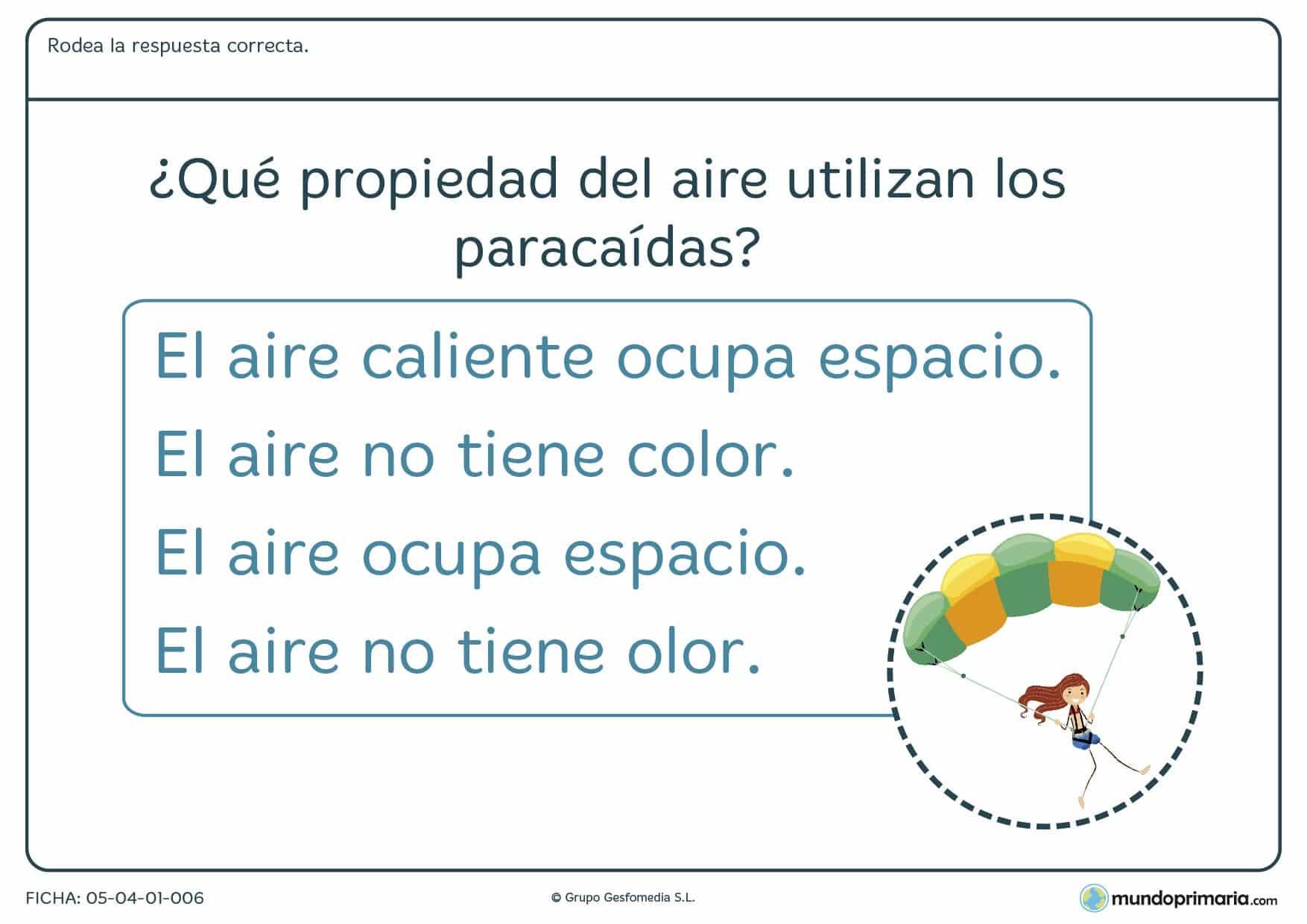 Ficha del aire y sus propiedades en el que se debe rodear la respuesta correcta a la pregunta planteada en el ejercicio.