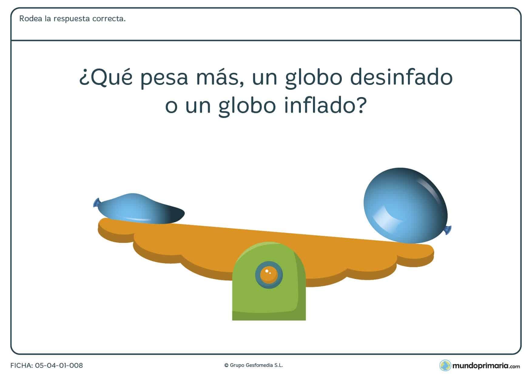 Ficha del peso del aire en el que se debe rodear la respuesta correcta a la pregunta planteada en el ejercicio.