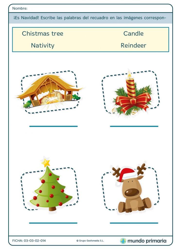 Ficha de objetos de la Navidad para primaria