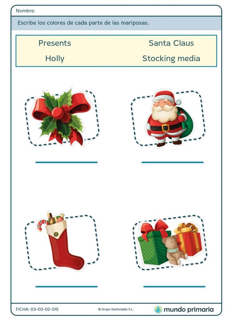 Ficha de vocabulario navideño en inglés
