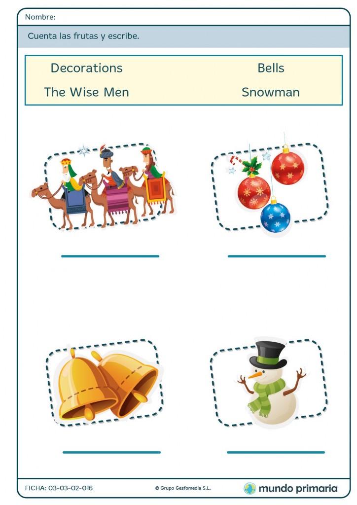 Ficha de palabras de la Navidad en inglés para primaria
