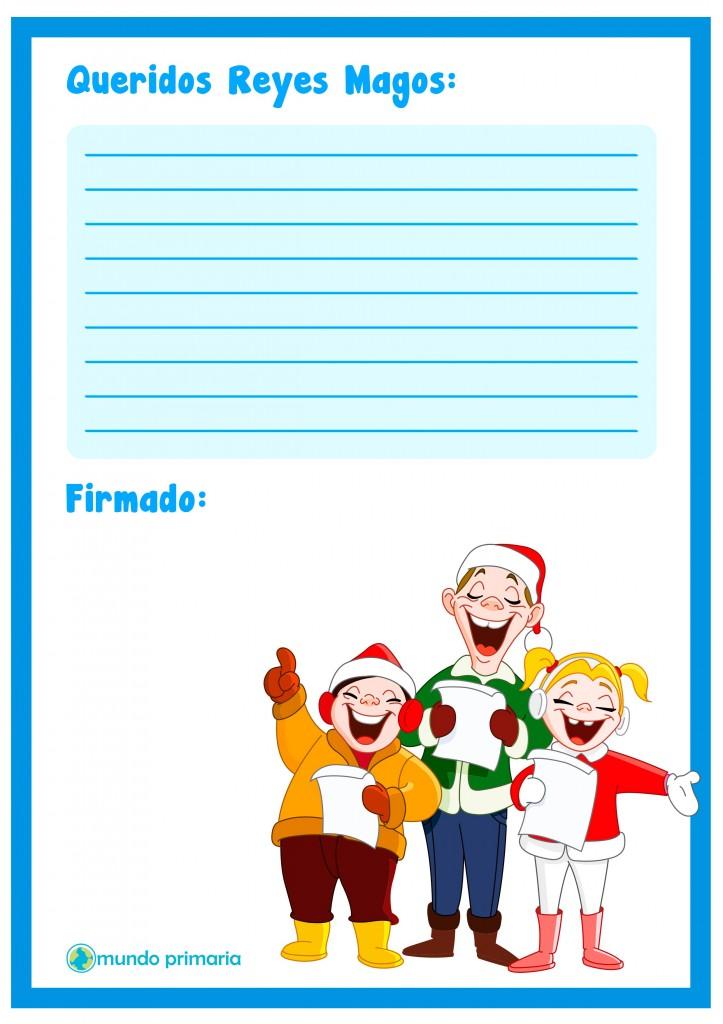 Carta con villancicos para escribir a los Reyes Magos.