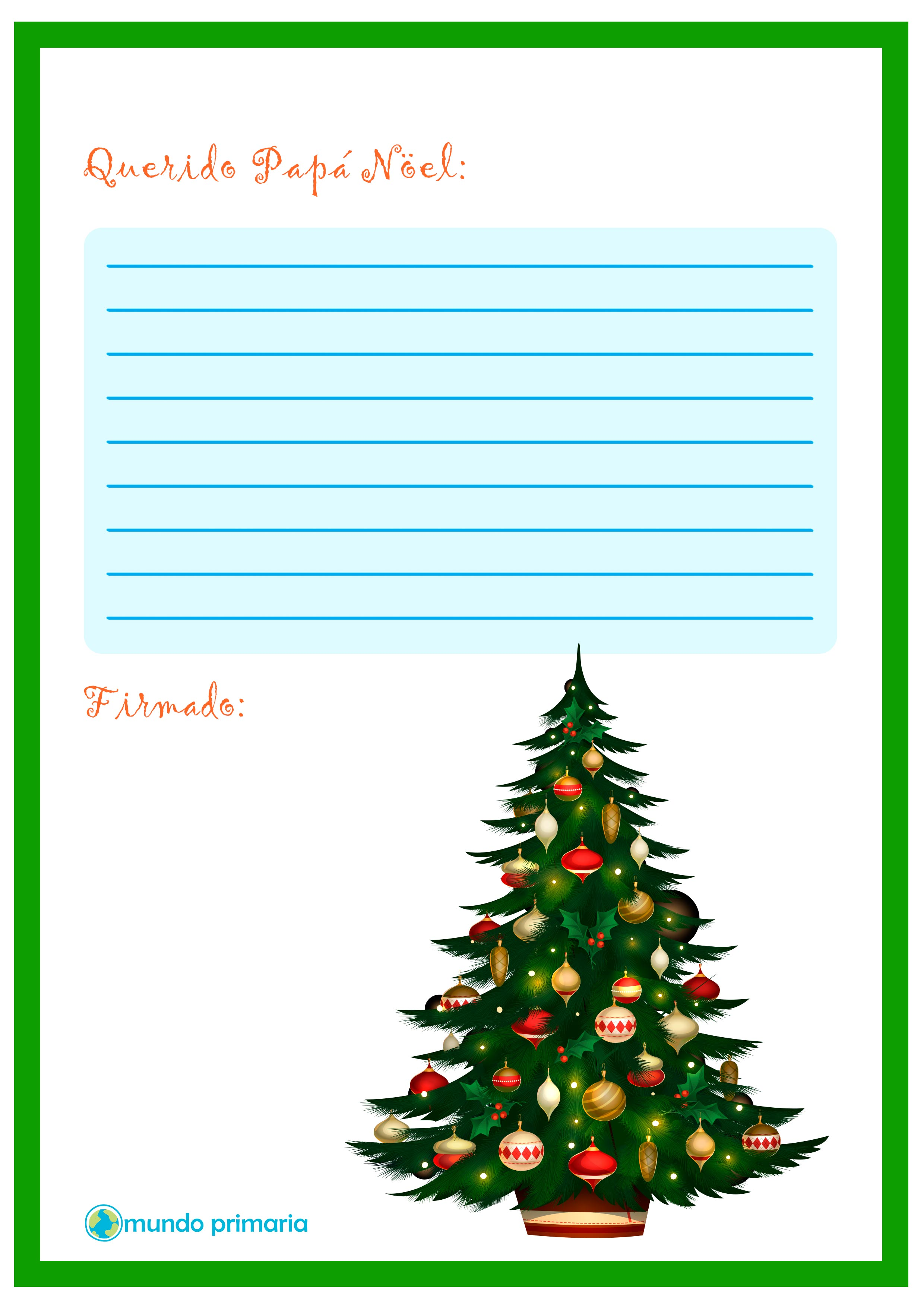 Carta de arbol navideño para Papa Noel