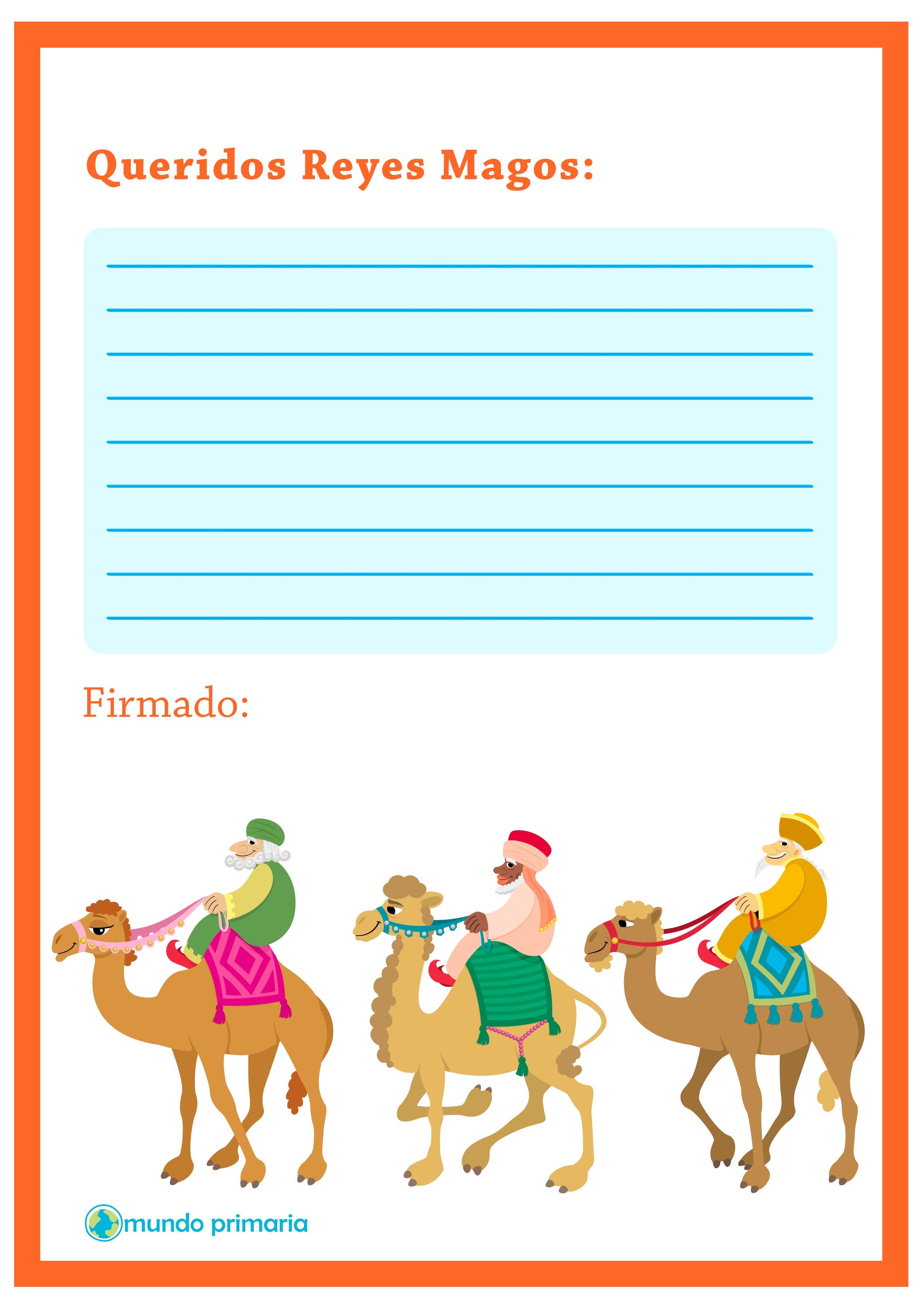 Carta de los regalos de los Reyes Magos para niños