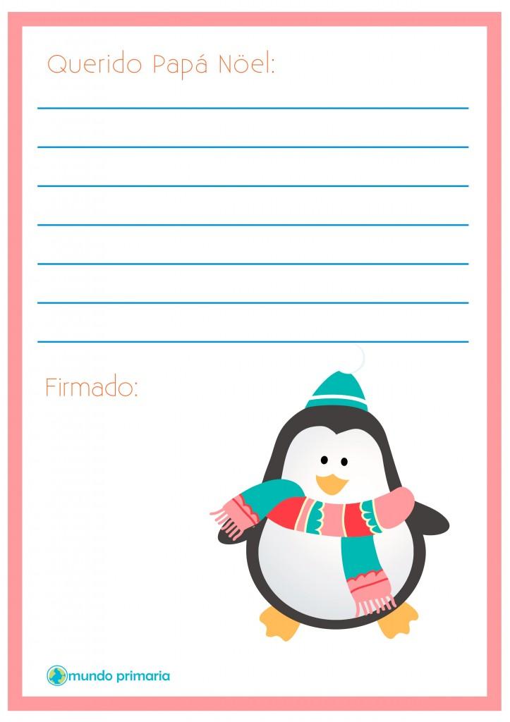 Carta con un pingüino para enviar a Papa Noel