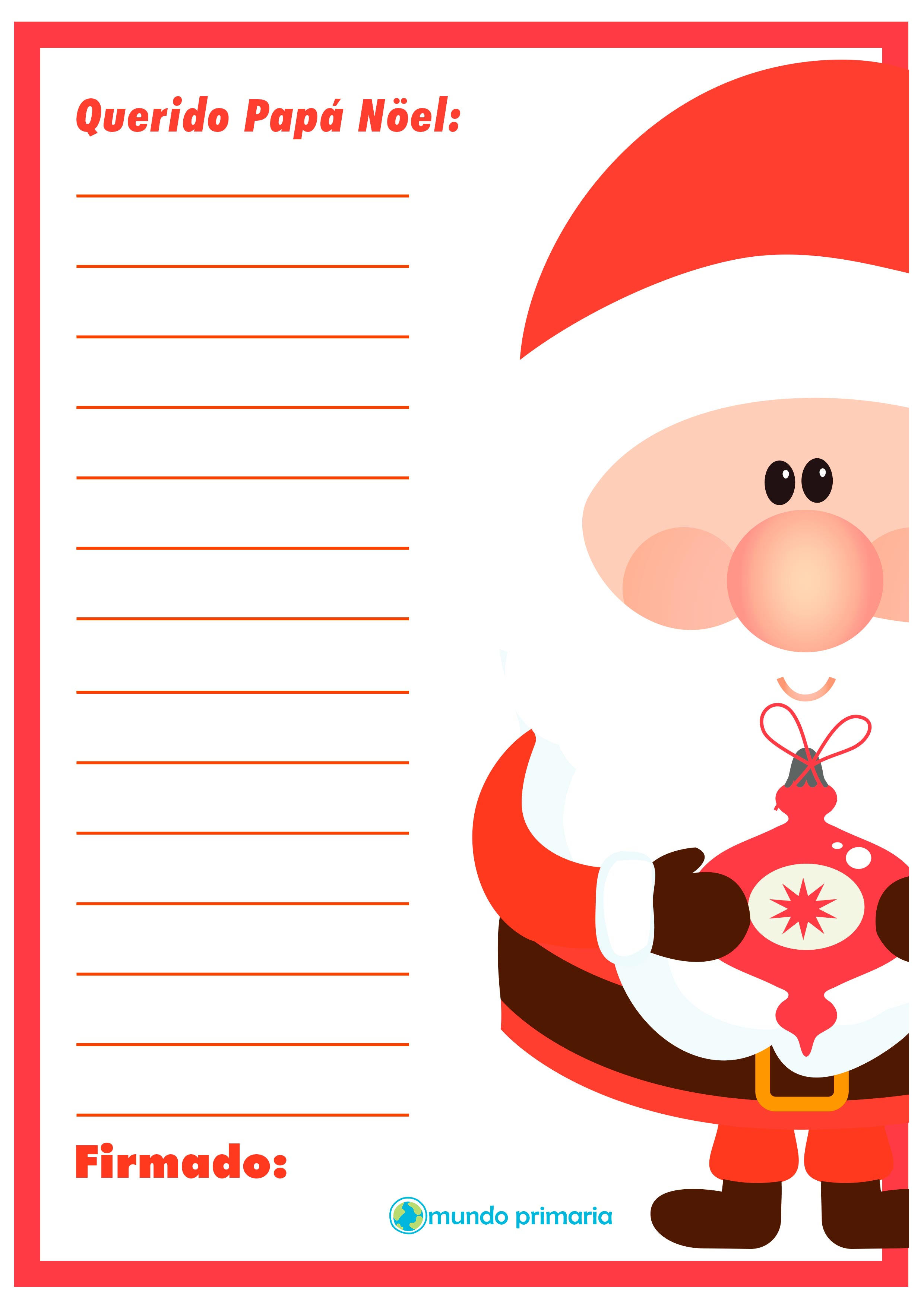carta con dibujos de Papa Noel