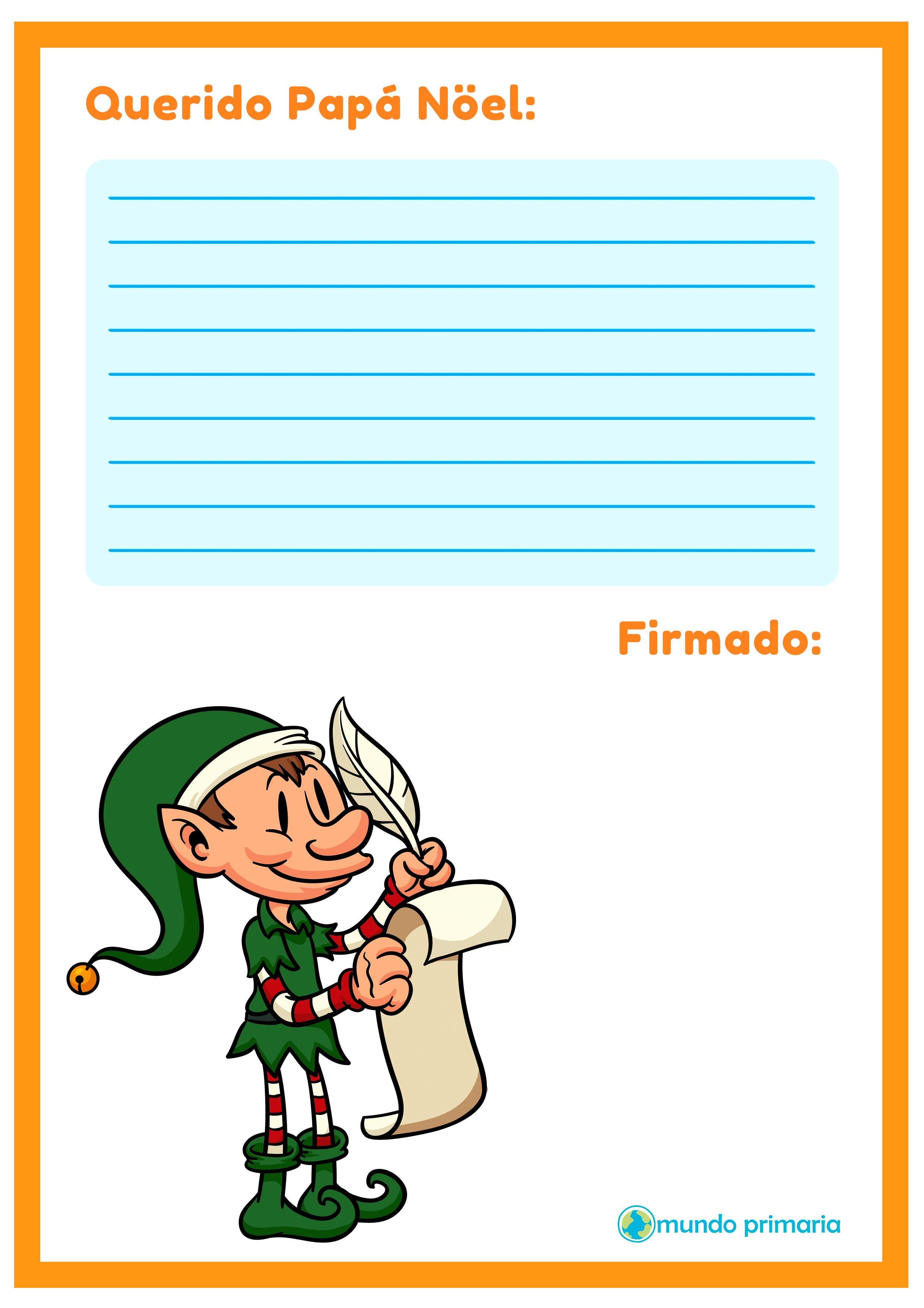 carta con el duende de Santa Claus para imprimir