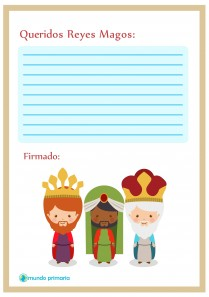 carta con tres Reyes Magos para niños