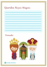 Carta a los Reyes Magos con dibujos para imprimir