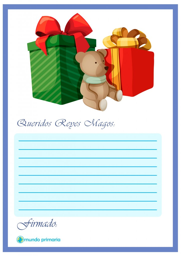 Carta para los regalos de los Reyes para niños.