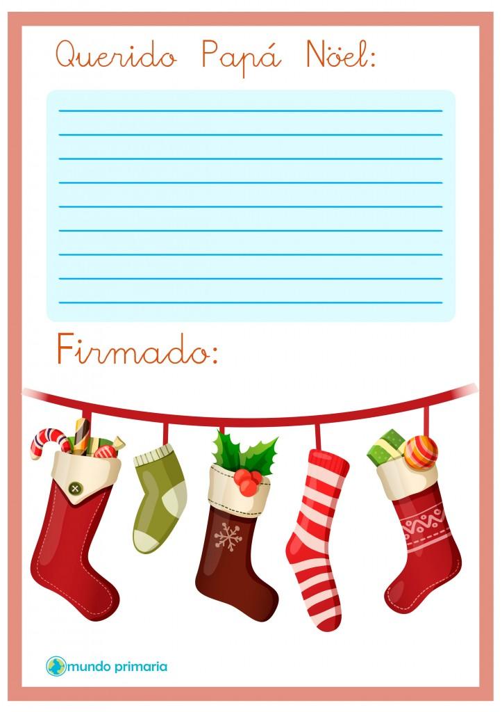 Carta con calcetines de Navidad para Papa Noel