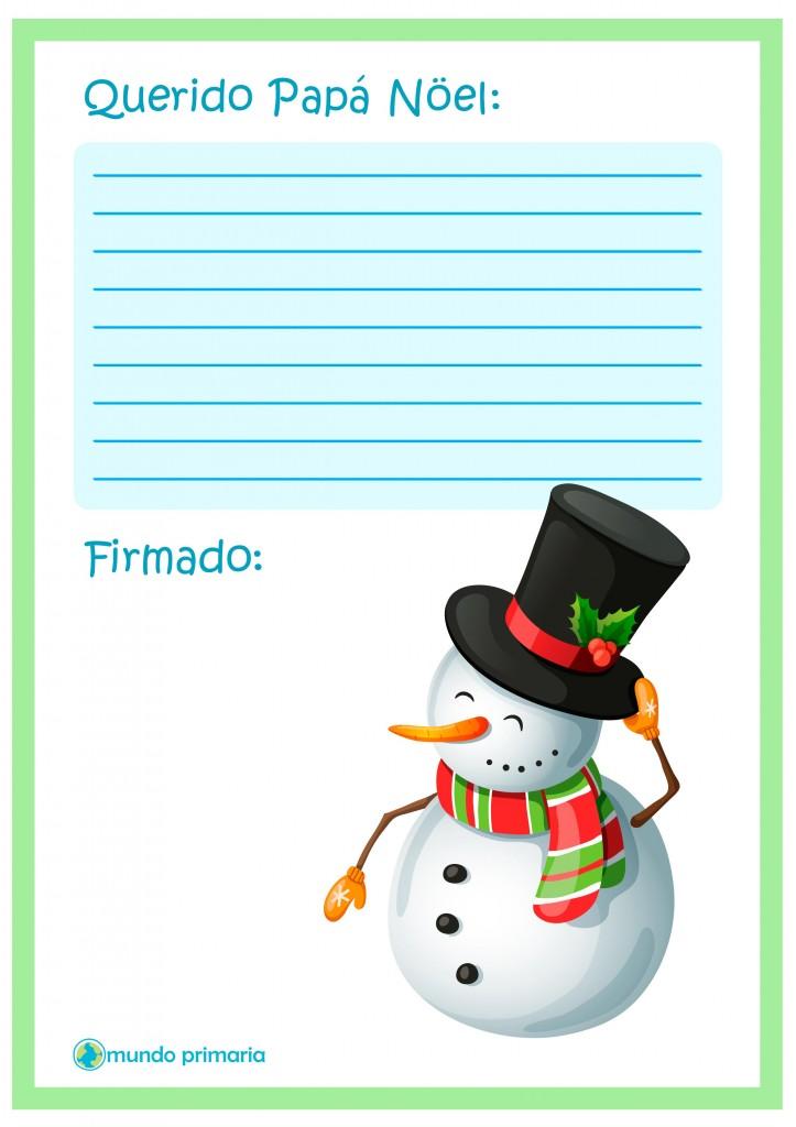 Carta con muñeco de nieve para Papa Noel