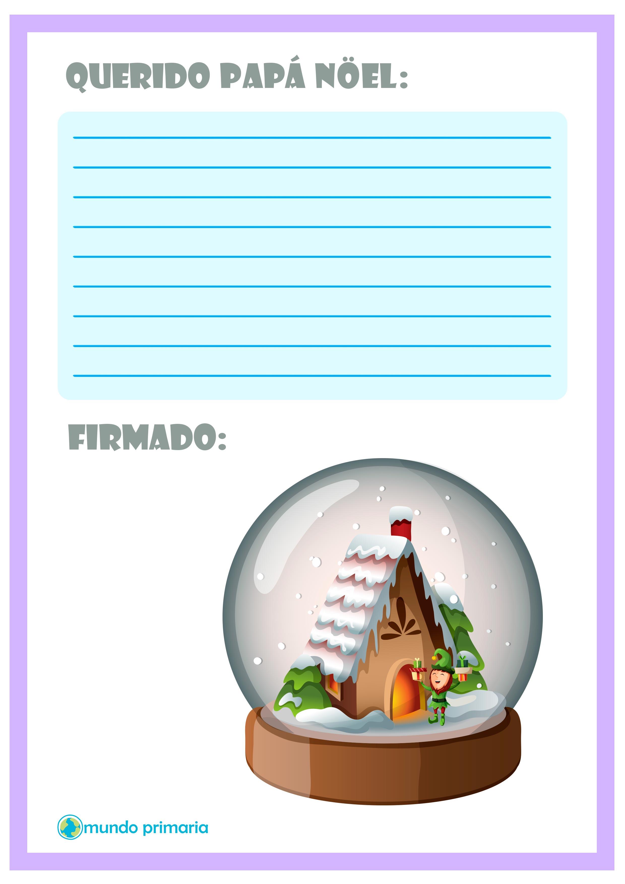 Carta con una bola de nieve para Papa Noel
