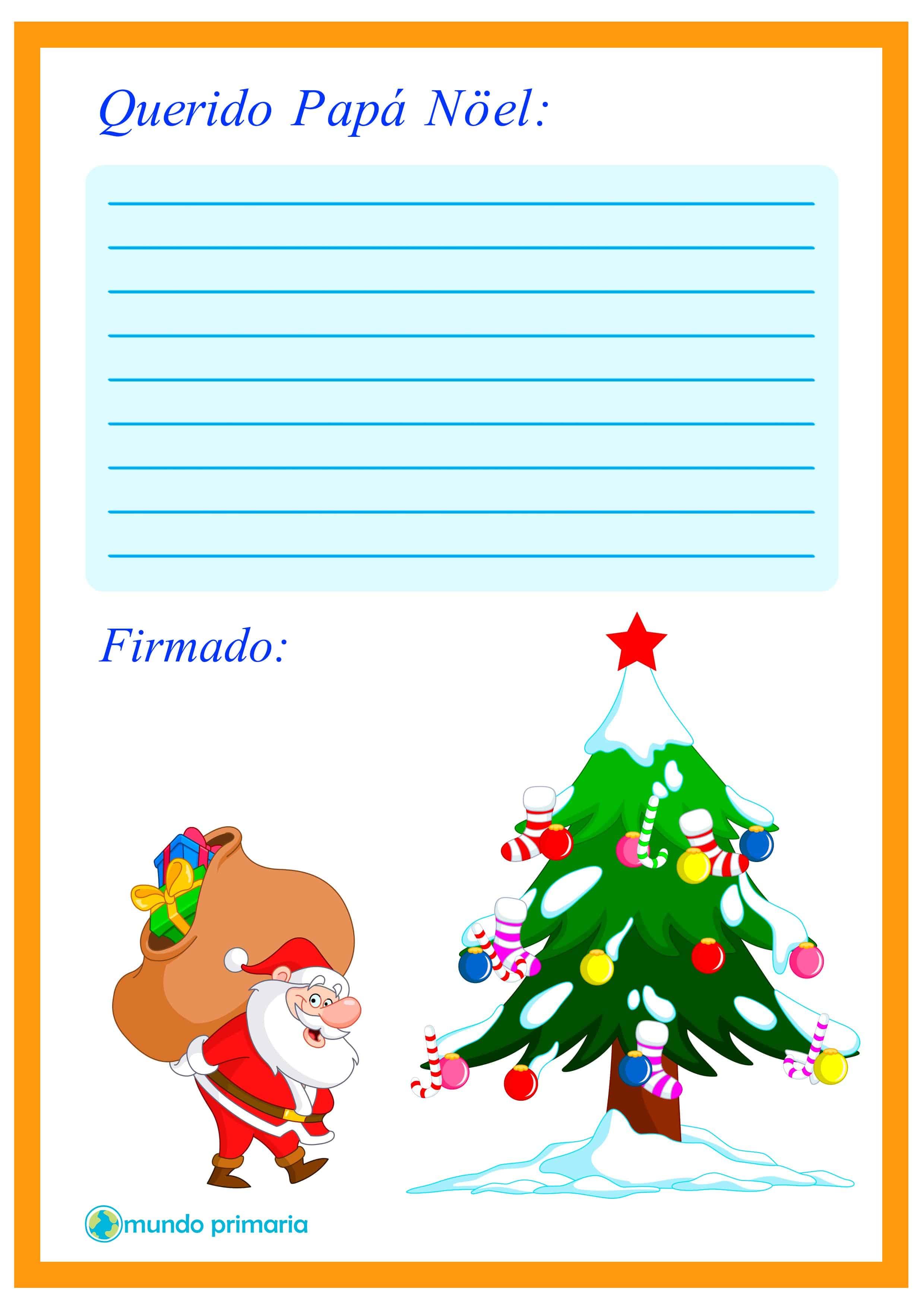 Carta con arbol de navidad para Papa Noel