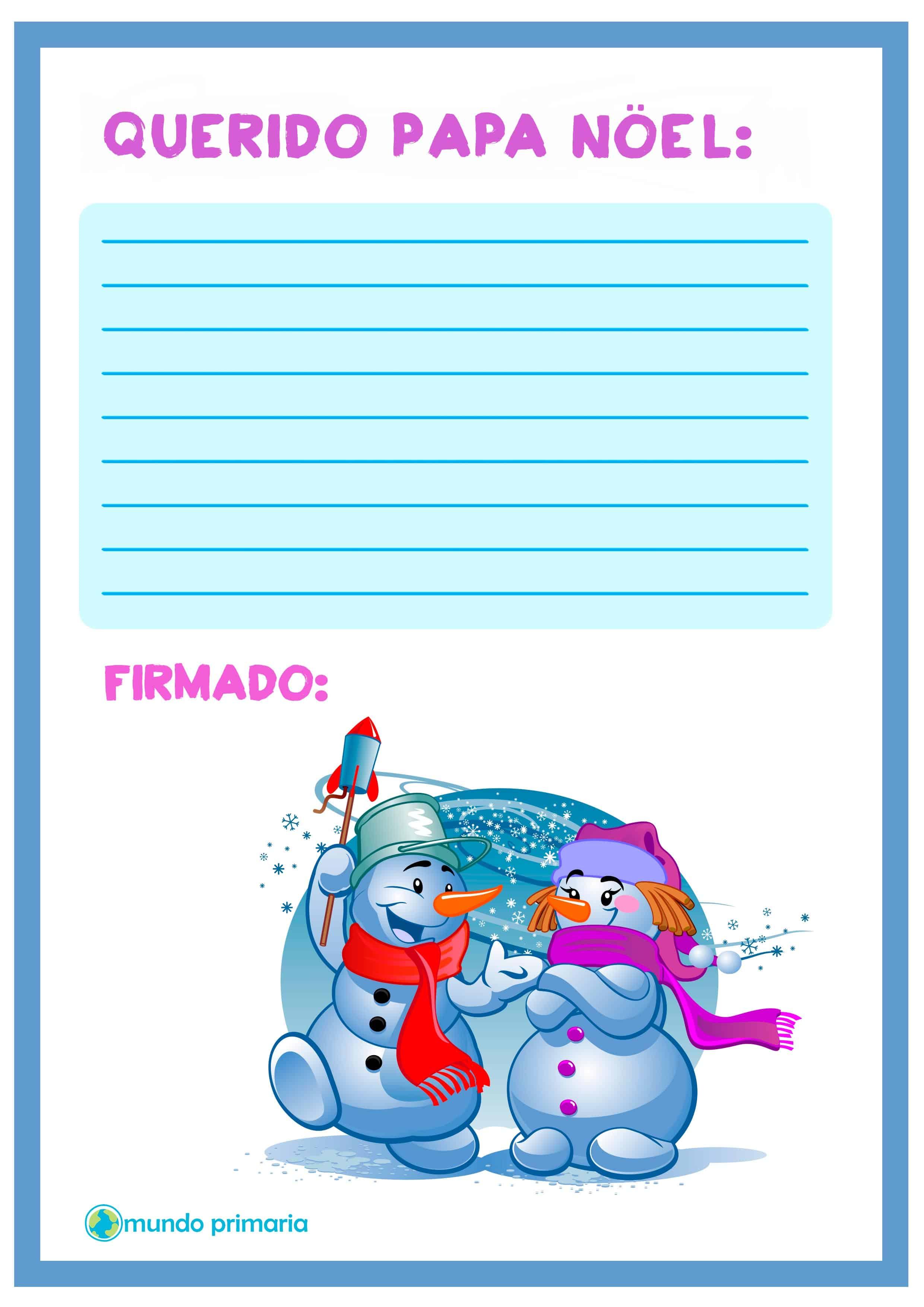 Carta de muñecos de nieve para Papa Noel
