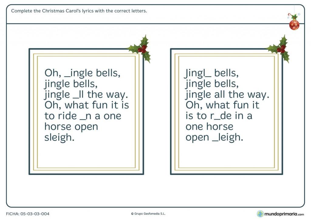 Ficha de Navidad de ortografía en inglés para primaria