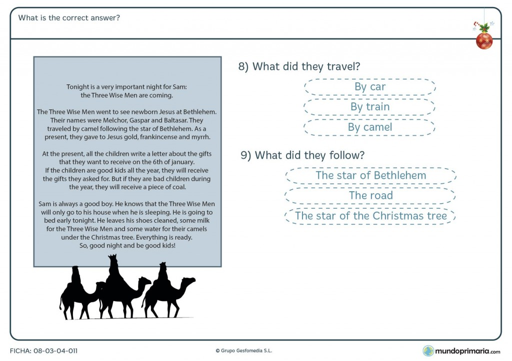 Ficha de Navidad de what's the correct answer para primaria