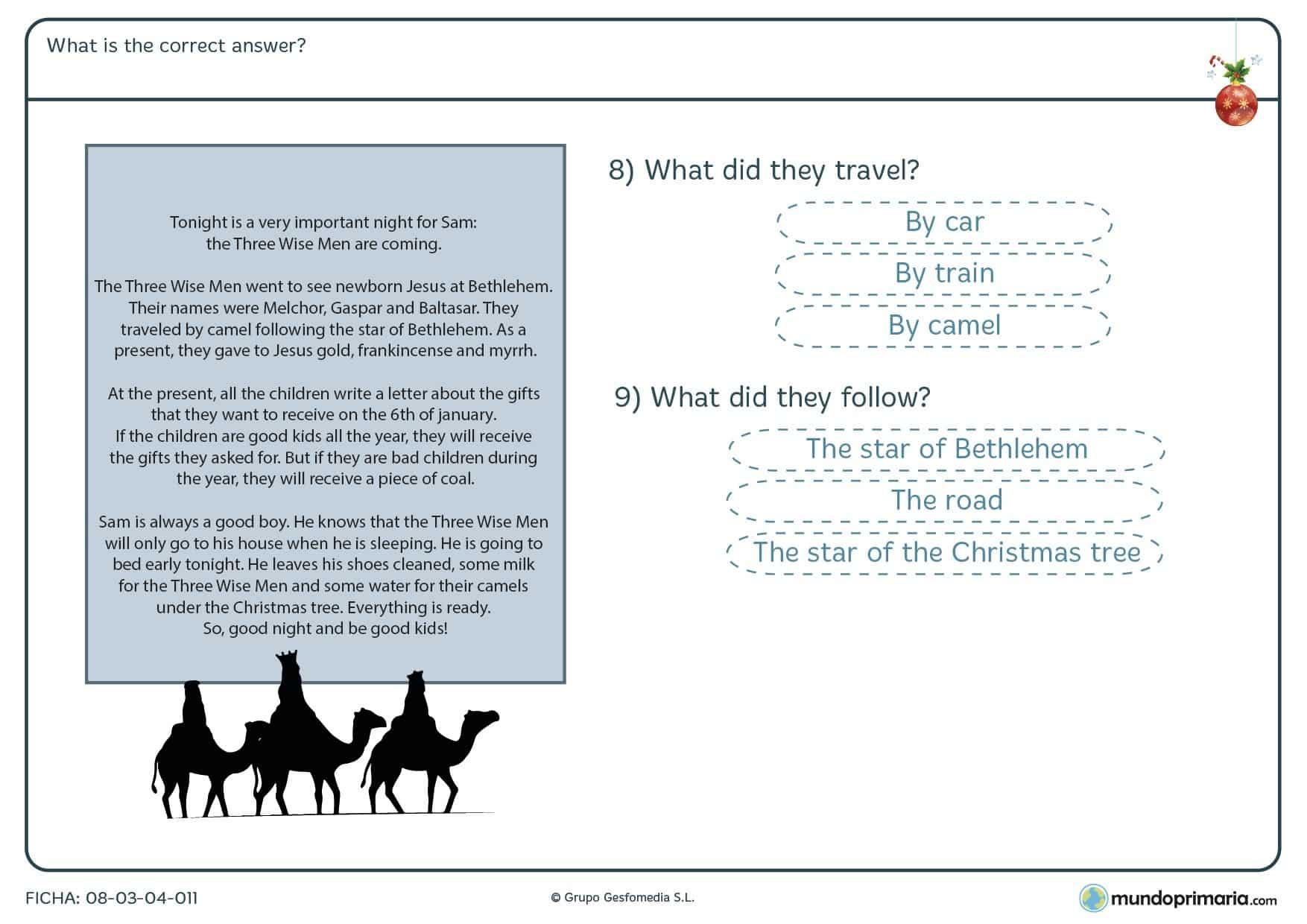 Ficha para niños de primaria de apoyo de Navidad de comprensión lectora en lengua inglesa consistente en elegir la respuesta correcta.