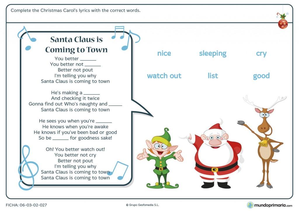 Ficha de Navidad en inglés para primaria