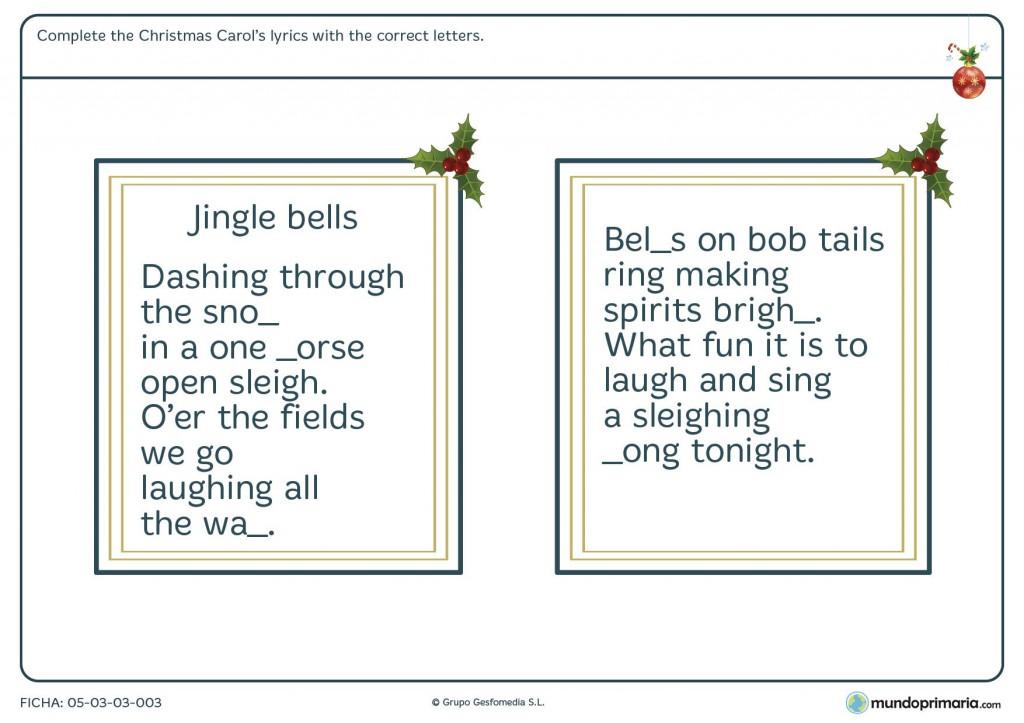 Ficha de completar el Jingle Bells para primaria