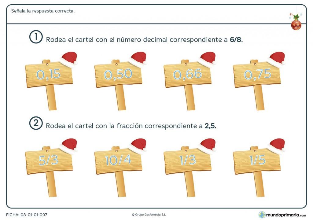 Ficha de equivalencia de decimales y fracciones para primaria