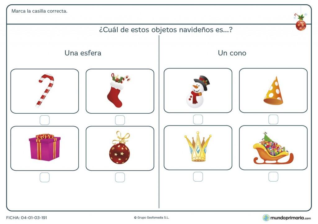 Ficha de figuras geométricas en la realidad navideña para primaria