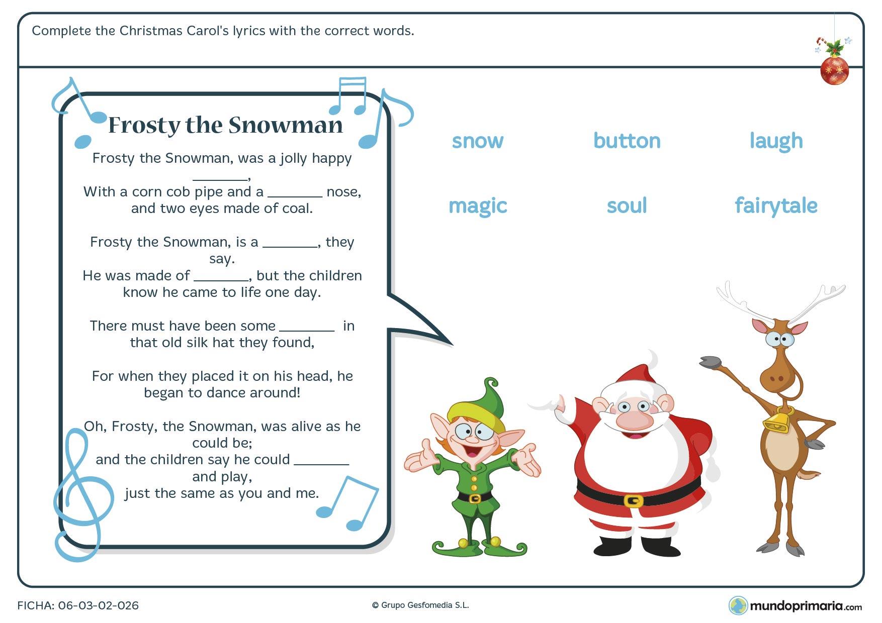 Ficha de inglés centrada en el vocabulario de Navidad para niños de primaria