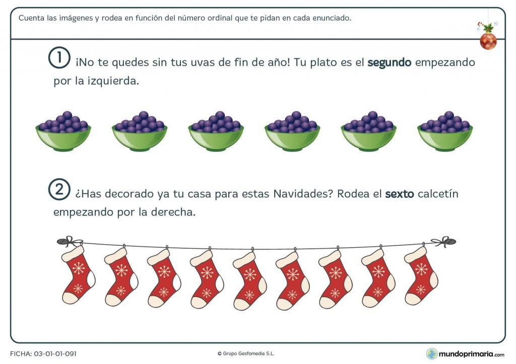 Ficha de números ordinales en la Navidad para niños de primaria