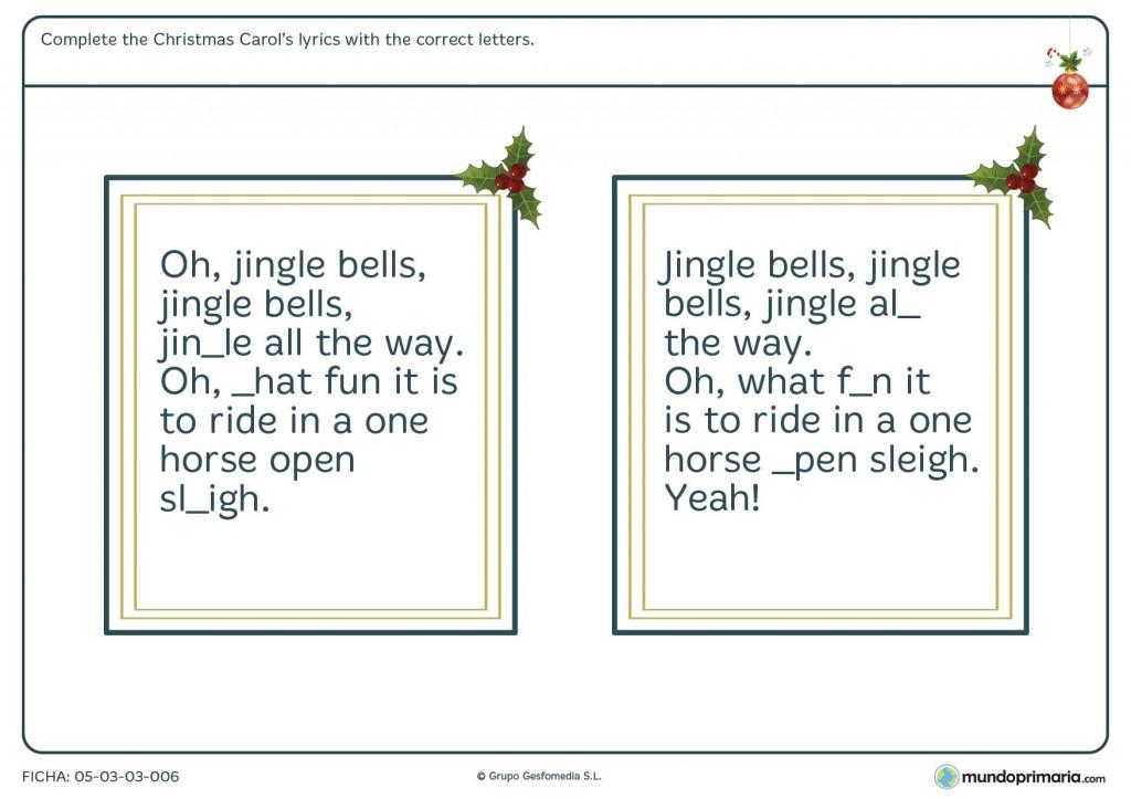 Ficha de ortografía navideña en inglés para primaria
