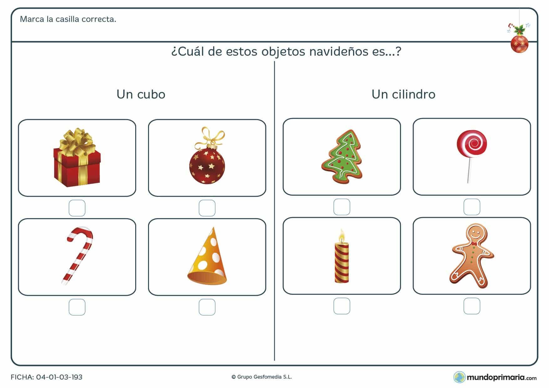 Ficha de figuras geométricas relacionadas con objetos típicos de la Navidad