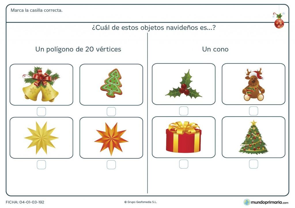 Ficha de polígonos y poliedros navideños para primaria