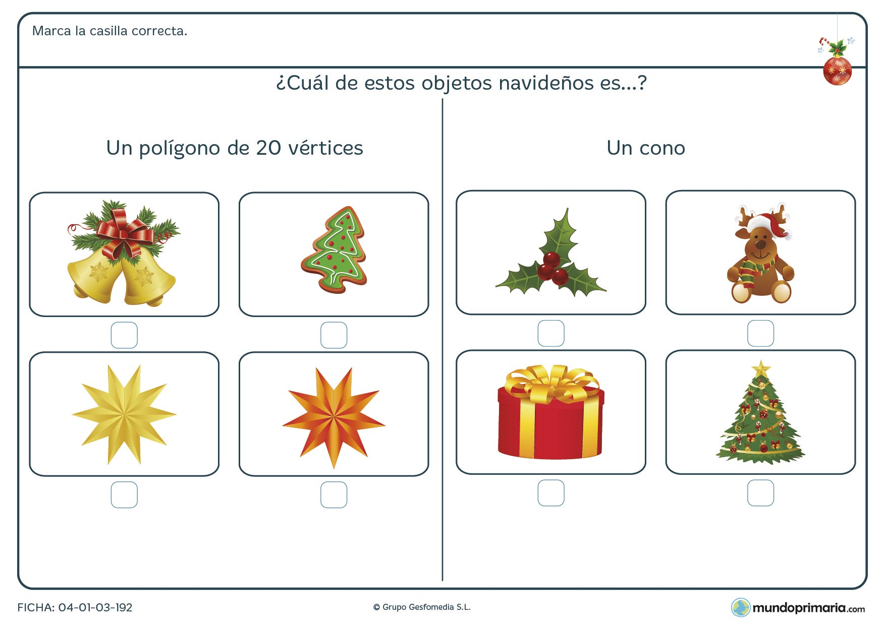 Ficha de poliedros y polígonos navideños