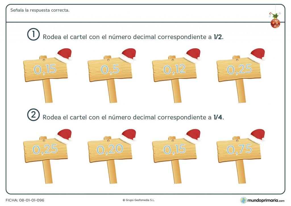 Ficha de relacionar números decimales y fracciones para primaria