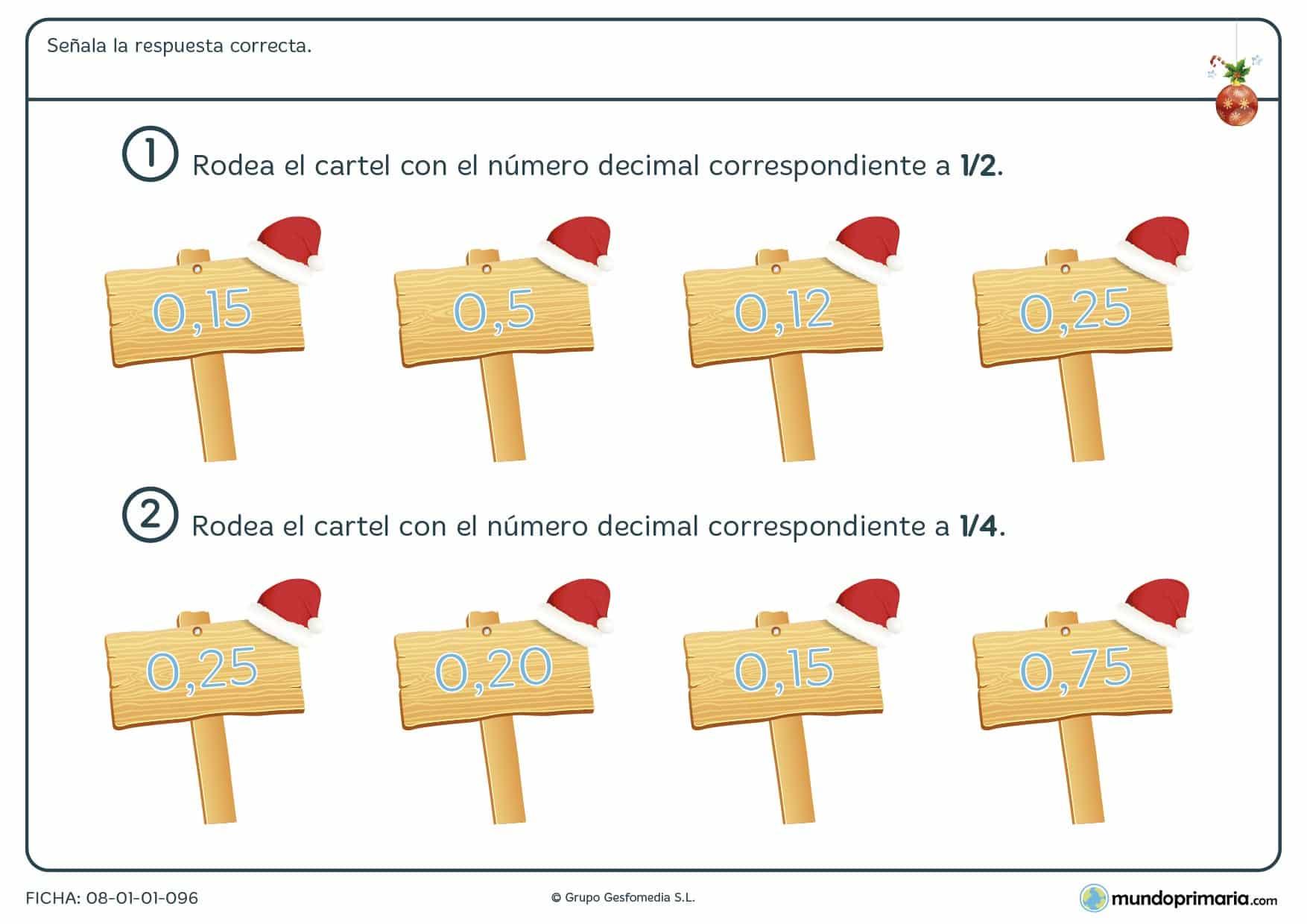 Ficha navideña de repaso de la relación entre números decimales y fracciones en la que hay que elegir las equivalencias.