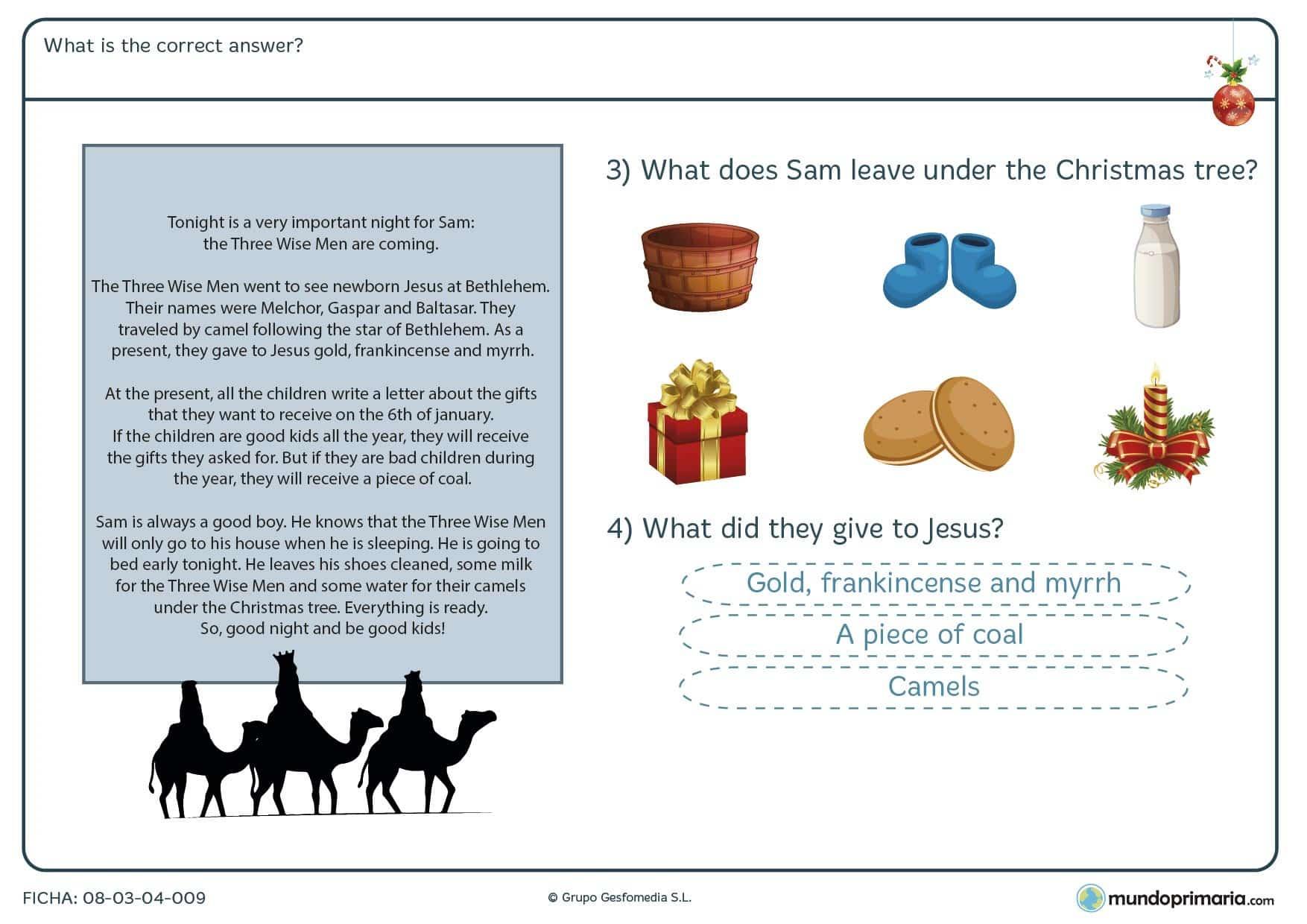 Ficha de repaso de reading con temas navideños para niños de primaria centrado en responder preguntas sobre un texto.