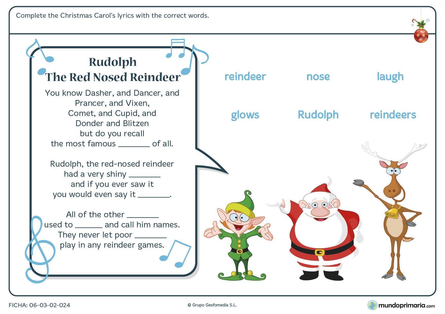 Ficha de vocabulario de la Navidad para niños de primaria relacionada con un conocido villancico