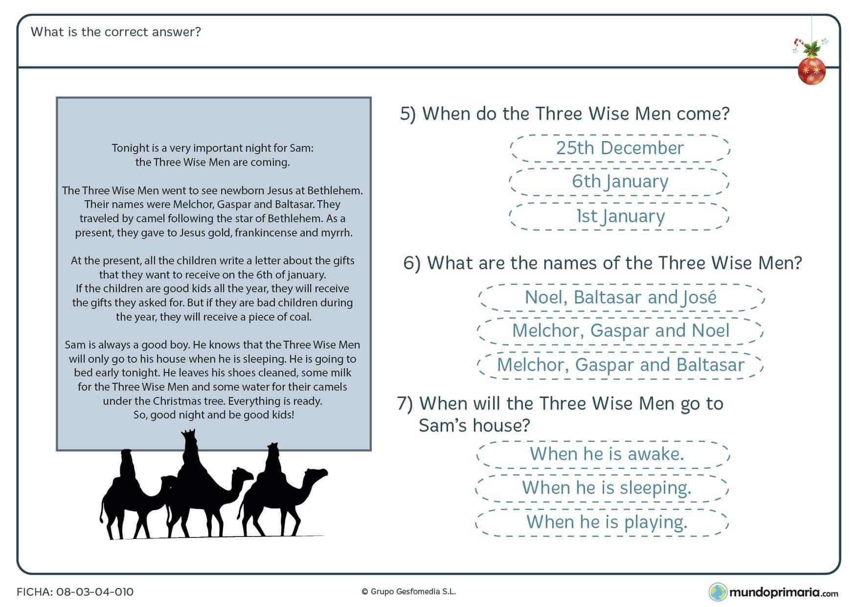 Ficha para practicar la comprensión de un texto en inglés, seleccionando la respuesta correcta, para niños de primaria