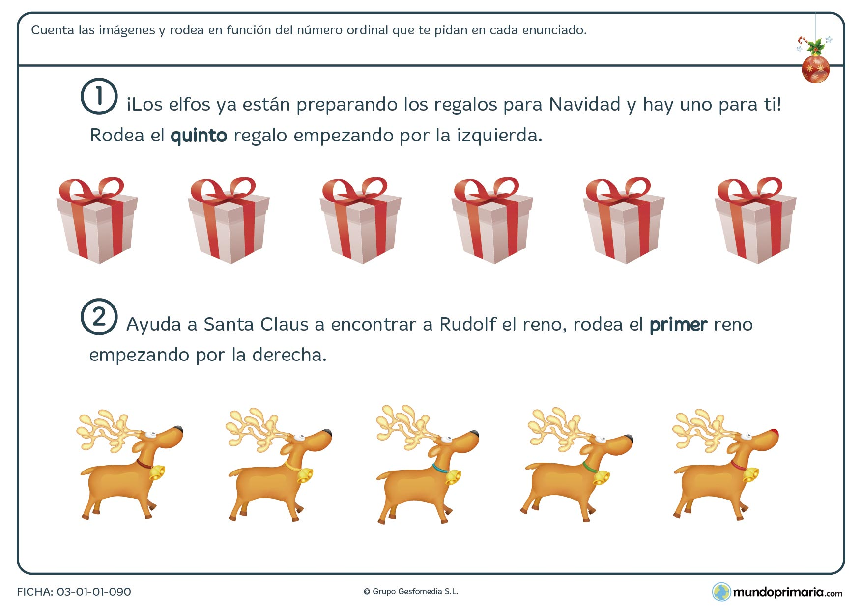Ficha de números ordinales con motivos navideños para repasar las matemáticas de una forma dinámica.