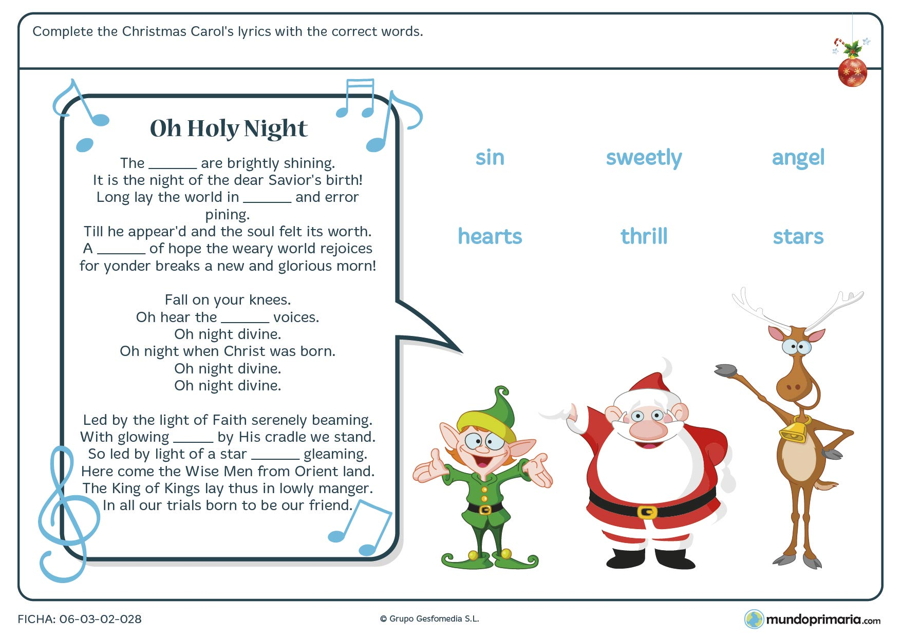 "Ficha navideña de vocabulario en inglés apoyada en la canción ""Oh Holy Night"""