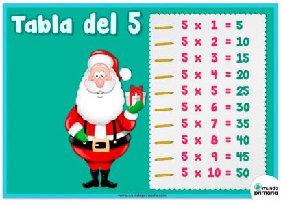Tabla del 5 con dibujos de Papa Noel