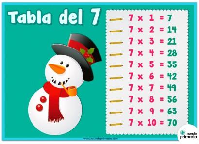 tabla del 7 con dibujos de Navidad para Primaria