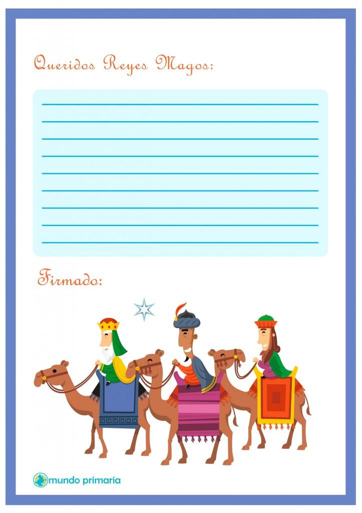 Carta con dibujos de los tres Reyes Magos