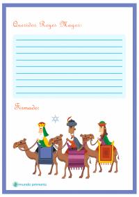 Carta de los Reyes Magos para niños de Primaria