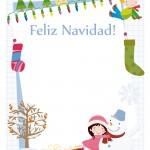 Tarjeta de felicitación para niños con dibujos navideños