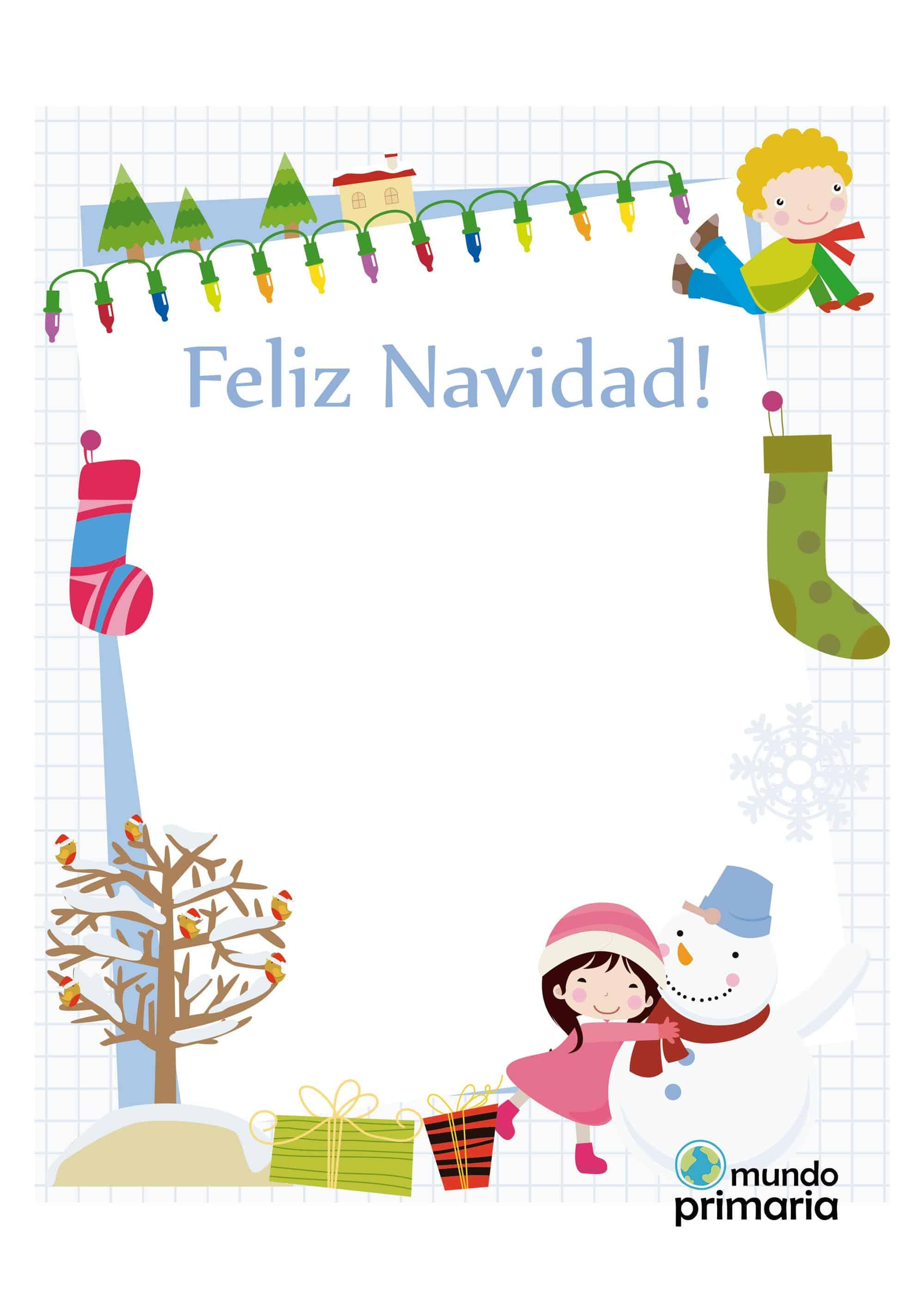 Tarjeta de felicitaci n para ni os con dibujos navide os - Tarjetas de navidad hechas por ninos ...