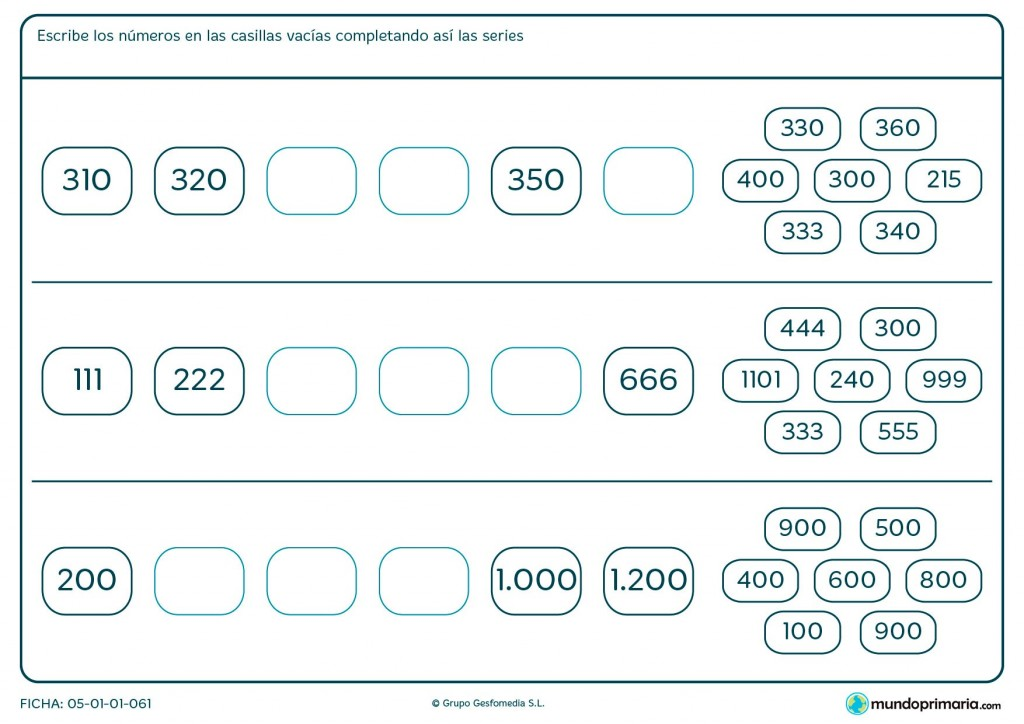 Ficha de acabar series de números para Primaria