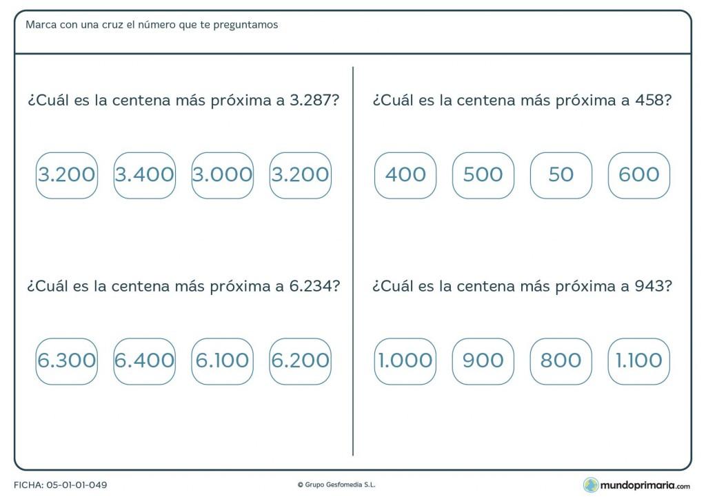 Ficha de aproximaciones a centenas para primaria