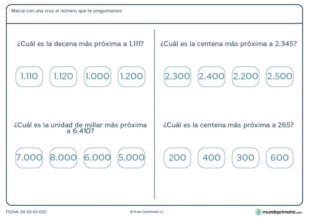 Ficha de aproximaciones a números para primaria
